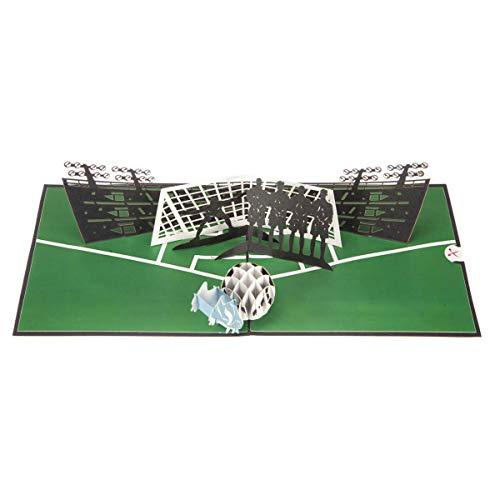 Voetbal Pop Up Verjaardagskaart - Voetbal Vaderdag Kaart, Voetbal Geschenken voor Jongens | 15 x 15cm | Handgemaakte Kaarten door Cardology