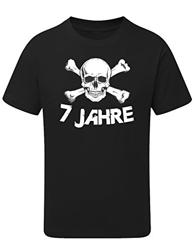 Geburtstags Shirt: Totenkopf 7 Jahre - T-Shirt für Jungen und Mädchen - Geschenk-Idee zum 7. Geburtstag - Sieben Siebter Jahrgang 2014 - Pirat Piraten Hamburg - Junge - Trikot Fussball Sport (122/128)