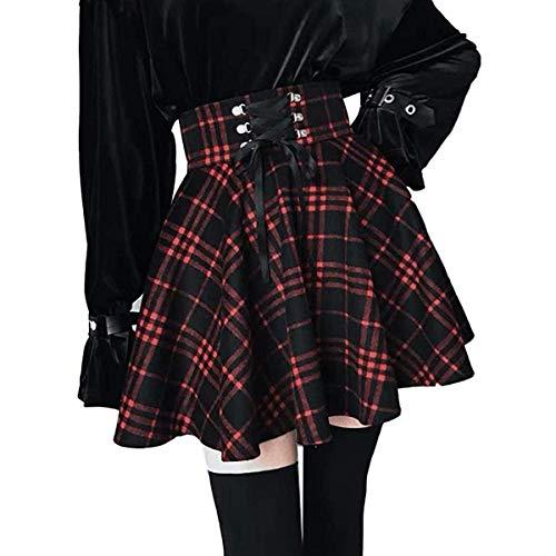 Onsoyours Damen Kariert Kilt-Rock Faltenröcke Tartan Minirock Hohe Taille Kurz Skirt Skater Rock Informell Mini Glocken Rock Rot Small