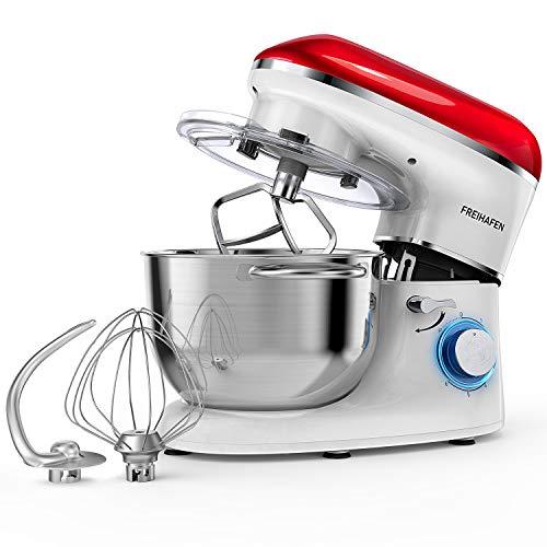 Freihafen - Robot da cucina, impastatrice da 5,5 l, con fruste, gancio di miscelazione, frusta a sfoglia, paraspruzzi, ciotola in acciaio inox, 6 velocità rosso/bianco