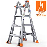 OT QOMOTOP Multi Use Telescoping Ladder, 17ft Aluminum Extension Ladder& 300lbs Duty Rating, Easy to Move (2 Flexible Wheels), Embedded Buckle, Non-Slip Design, for All House Projects