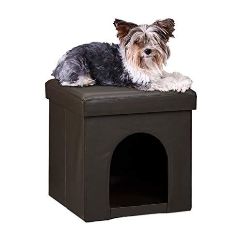 Relaxdays Banco/Casa para Perros, Cuero de imitación, Marrón