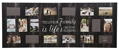 Gallery Solutions 19' x 48' Rustic Wood Plank Family Wall Hanging Picture, Holds 18 4' x 6' Photos Collage Frame