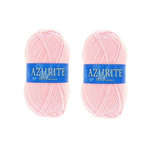 les colis noirs lcn Lot 2 Pelotes de Laine Azurite 100% Acrylique Tricot Crochet Tricoter - Rose - 3011