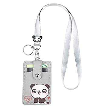 HASFINE Cute Credit Card Case Neck Pouch ID Badge Holder Lanyard Wallet with Cartoon Image Keychain for Students Teens Boys Girls Women