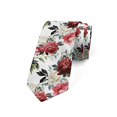 Ambesonne Men's Tie, Watercolor Pink Roses, Necktie, 3.7', Dark Coral Maroon