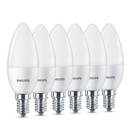 Philips LED Lampe, ersetzt 40W, E14, Warmweiß (2700 K), 470 Lumen, Kerzenform, 6er Pack, matt