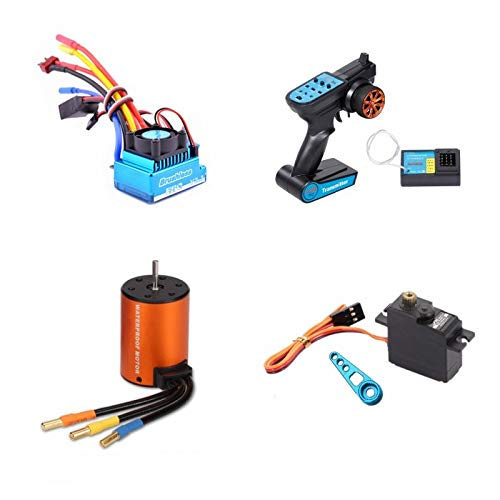 Nrpfell Kit de Actualización Sin Escobillas Motor Esc Receptor Controlador Remoto Servo Set para Wltoys 144001 A959-B A979-B Repuestos de Automóviles RC