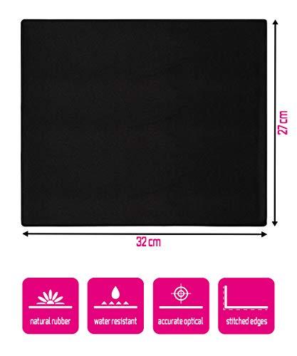 Silent Monsters Mauspad Größe L (320 x 270 mm) Stoff Mousepad Design: Schwarz - Vernähter Rand geeignet für Office und Gaming Maus