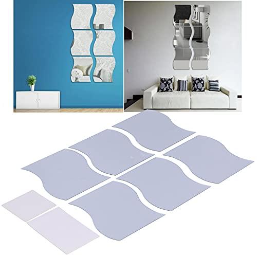 01 Adhesivo de pared, adhesivo de pared con espejo de plata, combinación libre, adhesivo para espejo de PVC para decorar el baño