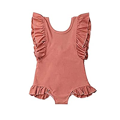 Happy Town One-Piece Infant Toddler Baby Girl Summer Swimsuit Watermelon Leopard Ruffle Swimwear Bikini Bathing Suit (Brick red, 4T/5T)