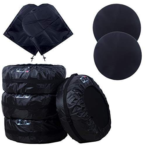 DIKLEY Reifentaschen Set 4 Stück Autorädertaschen mit 2 Pcs Felgen Wasserdicht Auto Reifen Taschen mit Griff Reifenschutz Passend für 13-17 Zoll große Autoreifen,Reifentasche (Schwarz 66cm/26in)