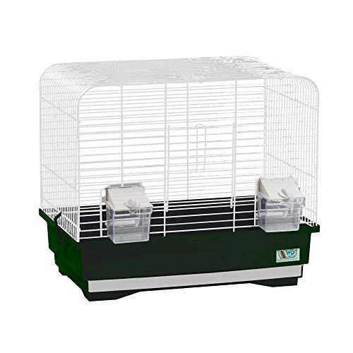 decorwelt Vogelkäfige XL Grün Außenmaße 40x25,5x34,5 cm Urlaub Reisekäfig Zubehör Wellensittich Futternapf Kanarienkäfig Plastik Vogel Modell KS7