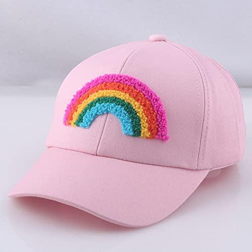 XINGSHENG Kindermütze Niedlicher Stil 2 bis 5 Jahre Kind Rosa Hut Mädchen Regenbogen Baseballmütze Sonnenschutz Sommer Strandurlaub