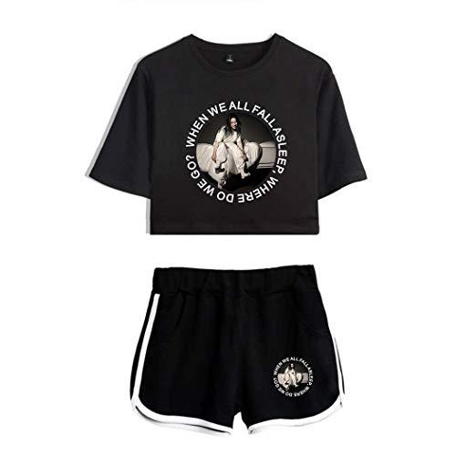 Femme Billie Eilish T-Shirt + Shorts 2pcs Sets When We All Fall Asleep Imprimé Crop Tops et Shorts Ensemble Hip Hop Tops Shirt Court de Sport Shorts Pyjamas Suit pour Fans