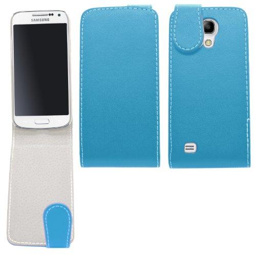 Samrick 000037784 Flip Cover in pelle per Samsung Galaxy S4 Mini i9190/i9192Mini (Dual-SIM) con Pellicola protettiva Schermo/Microfibra blu