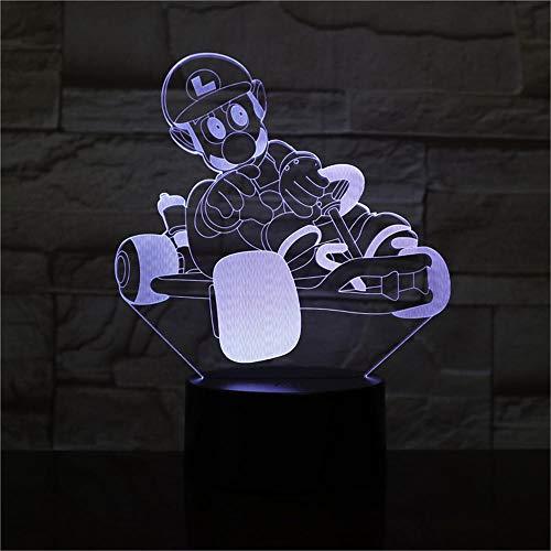 Lámpara de ilusión óptica 3D 3D Luz nocturna Mario Kart 16 colores regulable USB Powered Control táctil con control remoto, regalos creativos para niños de 10 años