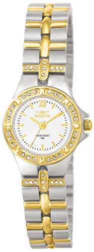 Invicta Women's Wildflower 21.5mm Crystal Accented Two Tone Stainless Steel Quartz Watch, Silver (Model: 0133)
