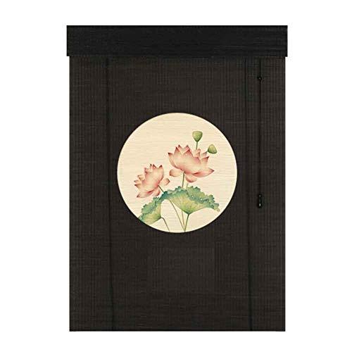 JLXJ Hogar y Cocina Persiana Exterior de Bambú con Diseño Negro, Cortina Opaca 70% de Estilo Japonés para Puertas de Ventanas Balcón Gazebo, 55cm/75cm/95cm/115cm/135cm de Ancho (Size : 55×140cm)