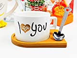 AY Love Tea/Coffee Cup & Wooden Saucer with Metal Spoon. Use for | Home | Office | Shop | Restaurant | Travel | Best Serving Cup and Plate (Piece of 1)