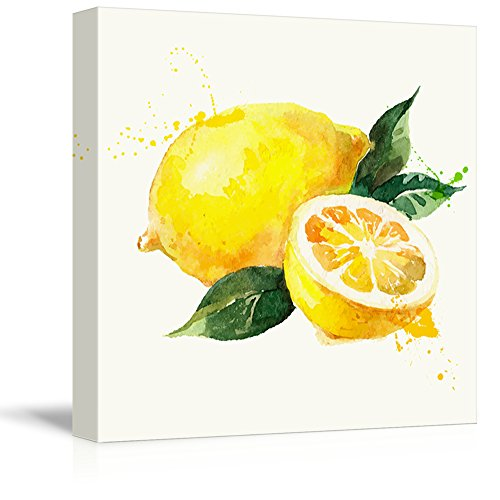 wall26 - Square Canvas Wall Art - Lemon Watercolor | Fruits Watercolor Art and Illustrations - Giclee Print Gallery Wrap Modern Home Art Ready to Hang - 12x12 inches