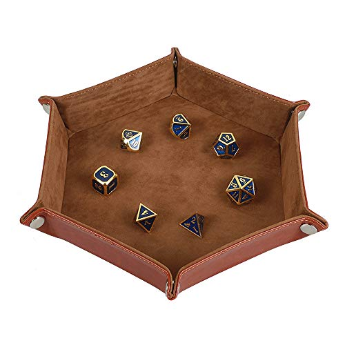 STYLIFING Dice Tray Metal Dice Rolling Tray Holder Storage Box for RPG DND Table Games, Double Sided Folding Thick PU Leather and High-Class Velvet Camel