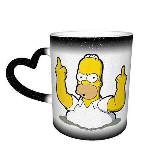 Homer Simpson Middle Finger Magic Funny Art Coffee Mugs Ceramic Cup Image Revealed When Hot Liquid Is Added