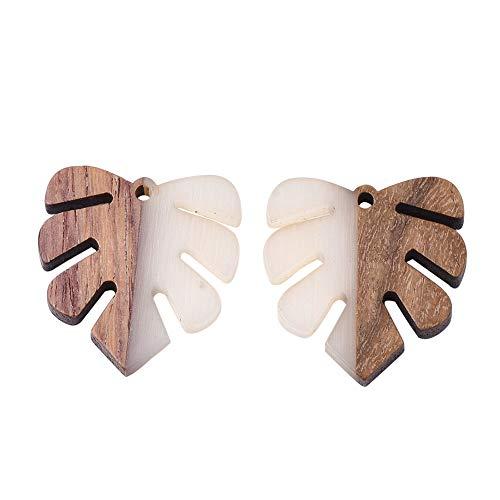 CHGCRAFT 50 pz Ciondoli in Legno Resina Ciondolo Foglia Monstera Ciondoli in Resina E Legno per Donna Collana Bracciali Creazione di Gioielli Artigianato Fai da Te 2mm Foro, Fumo Bianco