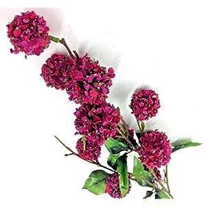 for Snowball Flower Spray Stem~Hot Pink Tone, Green~34″ Tall~Artificial DIY for Art & Craft Supplies Craft Ribbon