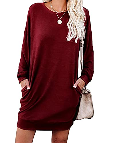Womens Sweatshirt Dress Casual Long Sleeves Crew Neck Tunics Shirt Tops with Pockets Wine Red M