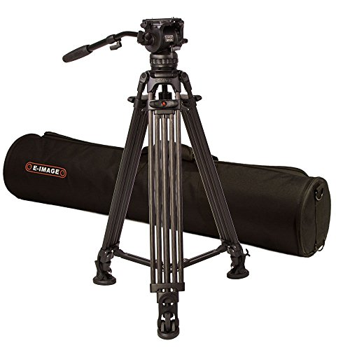 Ikan 2 Stage Carbon Fiber Video Tripod w/ GH06 Fluid Pan/Tilt Head, Maximum Height: 73″, 75mm Bowl, Variable Tilt/Drag, 13lb Capacity, Includes Padded Shoulder Bag (EG06C2) - Black