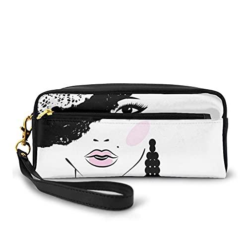 Federmäppchen mit Reißverschluss, barock, abstrakte Frau Gesicht und gemusterter Hut, altmodisches Design, kleine Make-up-Tasche