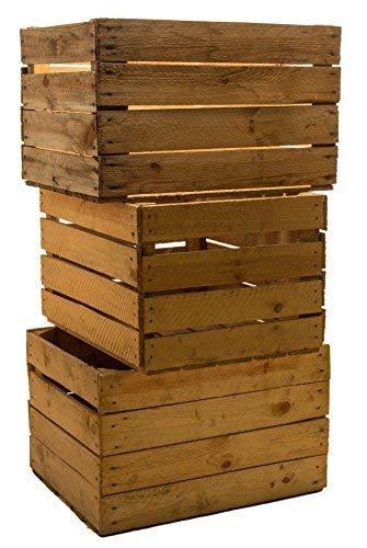 Kistenkolli Altes Land 3 Piezas sólido Cajas de Fruta Cajas DE Vino Cajas DE Manzana Caja Madera Shabby Vintage Medidas Aprox. 49 x 42 x 31cmxxxgebrauchtxxx