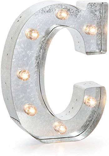Silver Metal Marquee Letter – C – Vintage-Style Lighted...