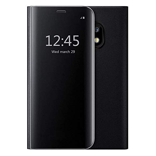 Oihxse Compatibile con Galaxy S8 Cover,Flip Custodia Cover con Funzione Kickstand,Ultra-Sottile Specchio Traslucido Cover per Samsung S8 Cover,PU Silicone Protezione a quattro angoli (nero)