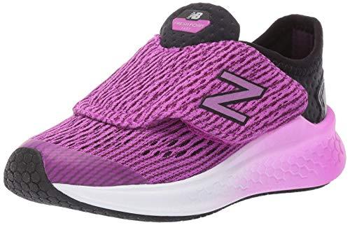 New Balance Girls' Fast V1 Fresh Foam Hook and Loop Running Shoe, Black/Voltage Violet, 13.5 M US Little Kid