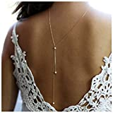 CanB Pearl Back Necklace Bridal Backdrop Necklaces Body Back Chain Y Back Drop Necklace Lariat Back Pendant Jewelry for Women Girls
