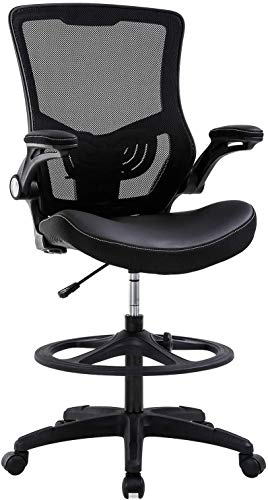 Simple Chic Home Office Drafting Chair Ergonomic Tall Office Chair with Flip Up Arms Foot Rest Back Support Adjustable Height Mesh Drafting Stool for Standing Desk, Best Home Office Chair - Black