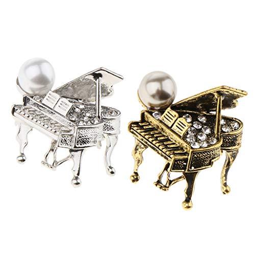 yotijar 2Pcs Grand Piano Shape Brooch Bead Ornaments