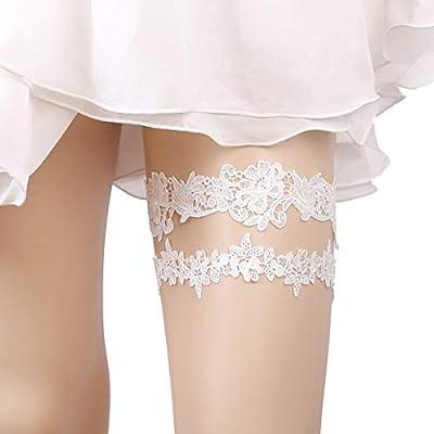 OURIZE Wedding Garters for Bride Lace Garter Belt Bridal Garter Set with Rhinestones (S)