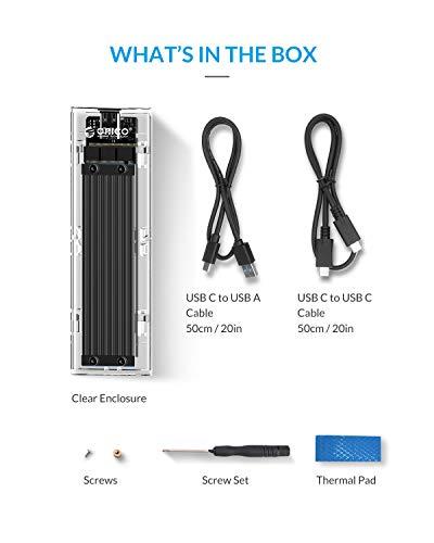 ORICO M.2 NVME SSD Gehäuse, PCIe auf USB C Adapter, USB 3.1 Gen2 (10Gbit/s) Externes Festplattengehäuse für PCIe M-Key Alle Größen Solid State Drive, Intelligente Schlaffunktion (Schwarz)