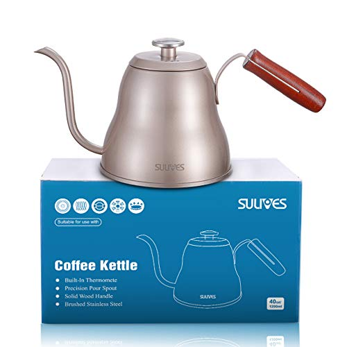 SULIVES Pour Over Coffee Kettle - 1L/34oz Stainless Steel with Built-in Thermometer Gooseneck Kettle - Champagne