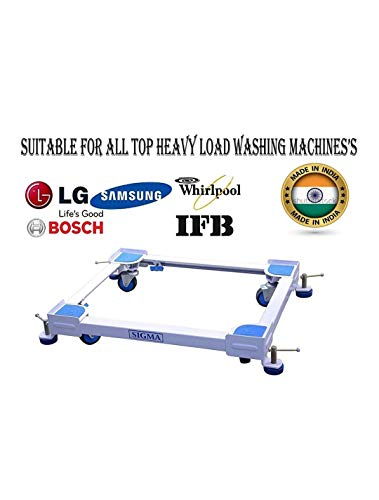 Brand zone Heavy Duty Adjustable Front & Top Load Washing Machine Trolley with Wheels/Stand/Refrigerator/Fridge/Dishwasher/Air Cooler Trolley Stand (White)