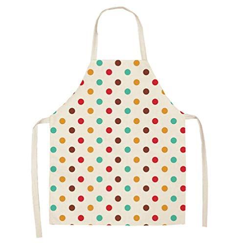 Dusenly Delantal de cocina impermeable para mujer,  de algodón y lino,  para cocinar,  cocinar,  asar y hornear (colorido)