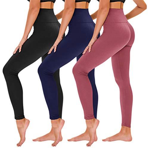 TNNZEET Lot de 3 leggings opaques pour femme - Taille haute - Pantalon de sport - Pantalon de yoga - Contrôle du ventre - Pantalon de course pour yoga, loisirs, gym - - Small-Large