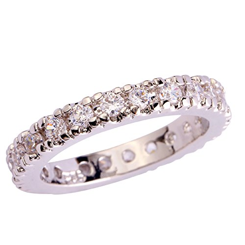 Psiroy 925 Sterling Silver Created White Topaz Filled Eternity Stacking Ring Band