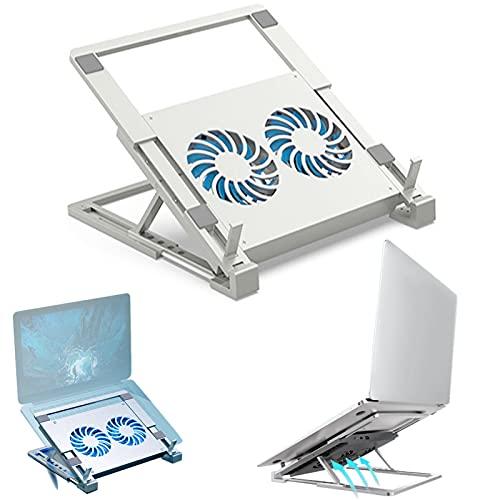 XIAYANG Soporte Ordenador Portátil con Dos Ventiladores, Aluminio Plegable portatil Soporte Ordenador, 5 Ángulos Adjustable -Adecuado para portátiles y tabletas de 12 a 17 Pulgadas(Color:Color Plata)