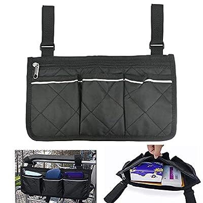 QUCUMER 1 PCS Wheelchair Bag Mobility Aid Wheelchair Accessories Bag Black Wheelchair Storage Bag Waterproof Armrest Side Organizer with Pocket for Elderly Disabled Wheelchair Armrest Pouch(32.5*18cm)