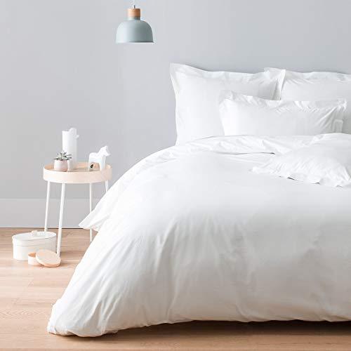 Cotton & Co – Funda de edredón de percal de algodón egipcio de 160 hilos – 400 Tc Stockholm, blanco, 240_x_290_cm