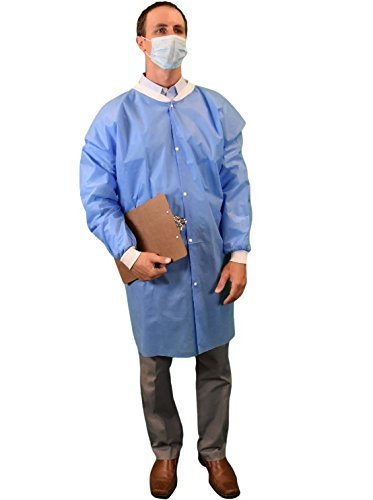 Keystone LC0-BK-SMS-LRG-BLUE SMS Lab Coat Pocket Knit Cheap mail order specialty store No Max 48% OFF Wrist